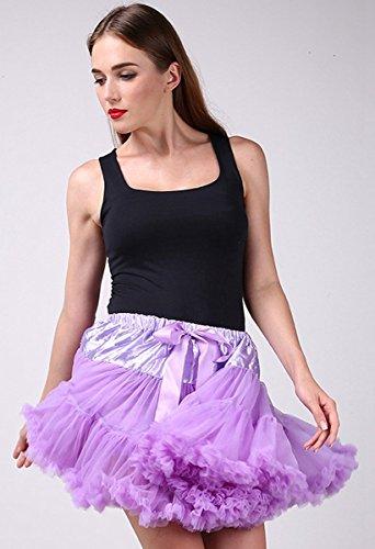 FEOYA Adulto Mujeres Princesa Danza Mini Falda de Doble Capas de Gasa Tutú Enagua Disfraz Pettiskirt Púrpura