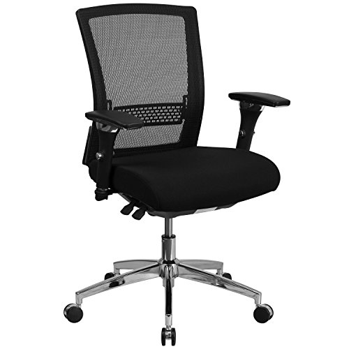 Swivel Series Adjustment Seat Pneumatic (Flash Furniture HERCULES Series 24/7 Intensive Use 300 lb. Rated Black Mesh Multifunction Executive Swivel Chair with Seat Slider)