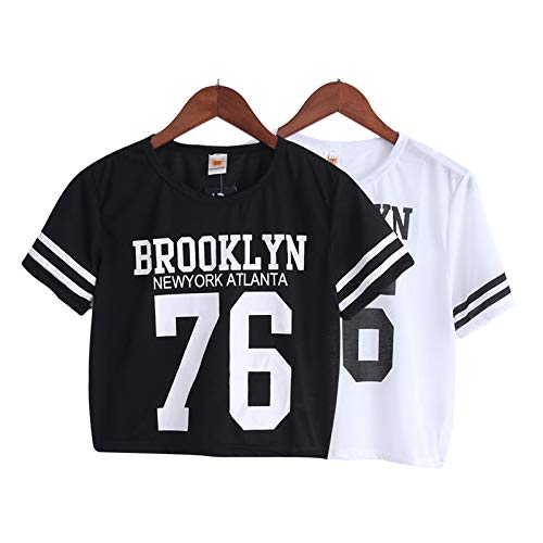 47e990f0d Amazon.com: Crop Top T-Shirt Women Brooklyn 76 Printed Printing T Shirt  Cropped Tops Tee Femme Woman Clothing Drop Ship: Kitchen & Dining