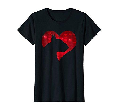 Womens Romantic I Love My English Bull Terrier Dog T-shirt Medium Black