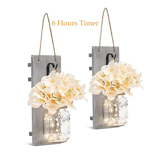 Mason Jar Sconces with LED - Fairy Lights,Vintage Wrought Iron Hooks, Silk Hydrangea Flower and LED Strip Lights Design for Home Kitchen Decoration Set of 2]()