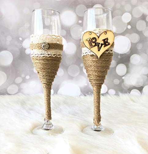 Abbie Home Bride and Groom Wedding Champagne Toasting Flute - Linen Wrapped Handle with Love Heart Rhinestone Decorated Glasses, Set of 2 (Glass Set)