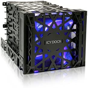Black Vortex MB074SPBInbouwframe voor 4x 35 HDD in 3x 525 met 120mm LED fan