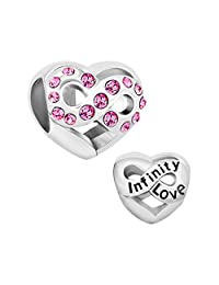 Sterling Silver Love Heart Infinity Charms Jewelry Pink Birthstone Crystal Beads Fit Pandora Charm Bracelet
