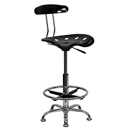 amazon com flash furniture vibrant black and chrome drafting stool