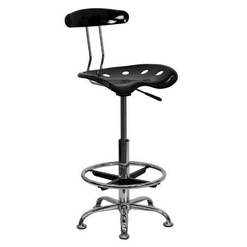 Stool Drafting Chrome Bar - Flash Furniture Vibrant Black and Chrome Drafting Stool with Tractor Seat