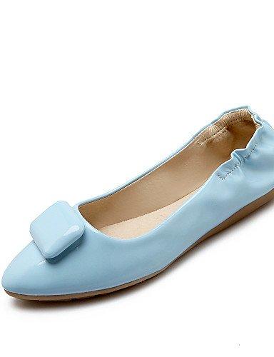 Bleu-us8   eu39   uk6   cn39 PDX femme Chaussures Talon Plat Bout Rond appartements Casual Noir bleu rouge blanc beige