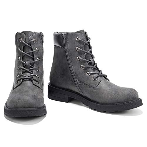 GM GOLAIMAN Men's Motorcycle Boots-Lace Up Zip Ankle Boot Work for Military Tactical Combat Hiking, Grey, 9 M US