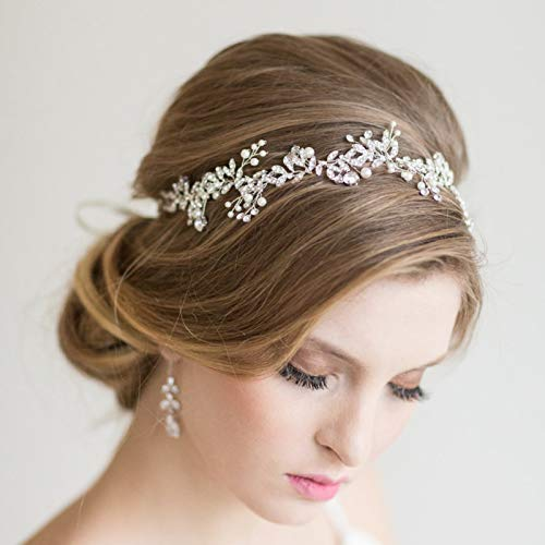 SWEETV Crystal Bridal Headpiece Silver Wedding Headband for