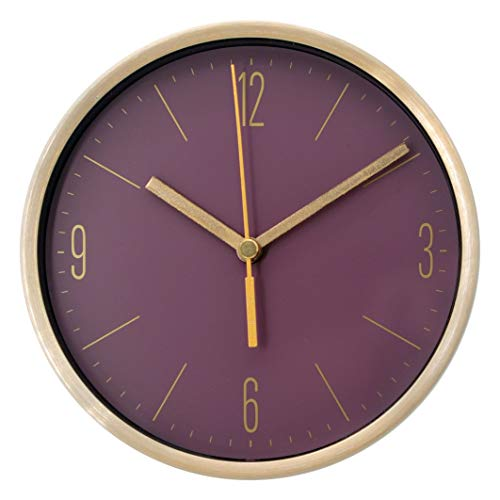 COMODO CASA Wall & Desk Clock- Metal Gold Frame-Glass Cover-Non Ticking-Quartz Sweep-Silent 6 inch Modern Clock (Purple)