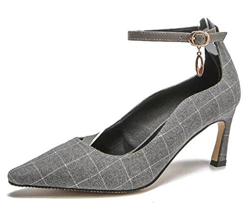 Moderne Schuhe Nachtclub Stiletto Cm Plattform LUCKY Mädchen Braut A 7 EU38 Bar Büro Damen Sandalen High Grau CLOVER Hochzeit Frauen Heels PAUOAqnaw