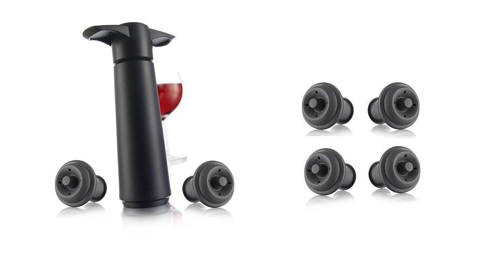 Vacu Vin Wine Saver Pump, Black with 6 Vacuum Bottle Stoppers by Vacu Vin