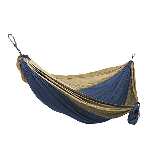 Grand Trunk Single Parachute Nylon Hammock with Carabiners and Hanging Kit: - Perfect for Outdoor Adventures, Backpacking, and Festivals, Navy/Light - Grand Parachute Hammock Trunk