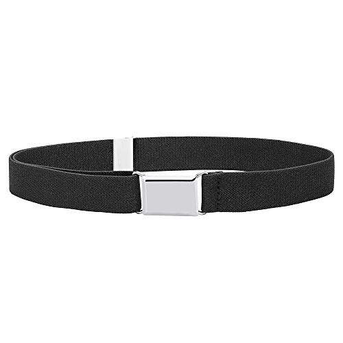 Buyless Fashion Kids and Baby Adjustable and Elastic Dress Stretch Belt with Silver Buckle - 5101-Black -