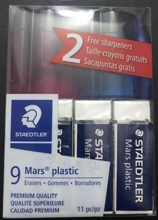 (Staedtler-Mars 9 Mars Plastic Erasers + 2 Sharpeners 11pc Kit 52650WP9P)