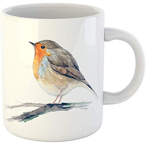 Coffee Tea Mug Gift 11 Oz Funny Ceramic Colorful Artistic Robin Redbreast Bird Branch European Watercolor Animal Orange Gifts For Family Friends Coworkers Boss Mug