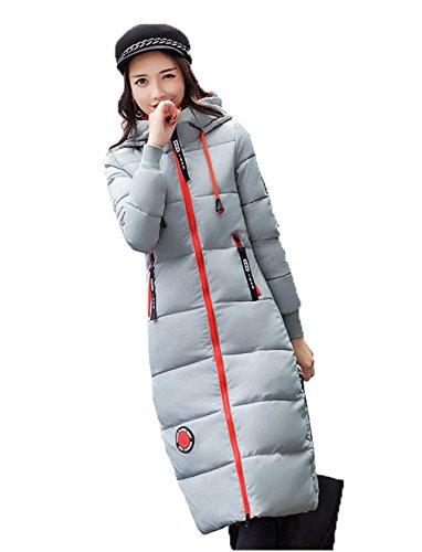 abajo Gris acolchado hacia del Delgado Mujeres algodón capa COMVIP rodilla gruesa Outwear Puffer RXTzw
