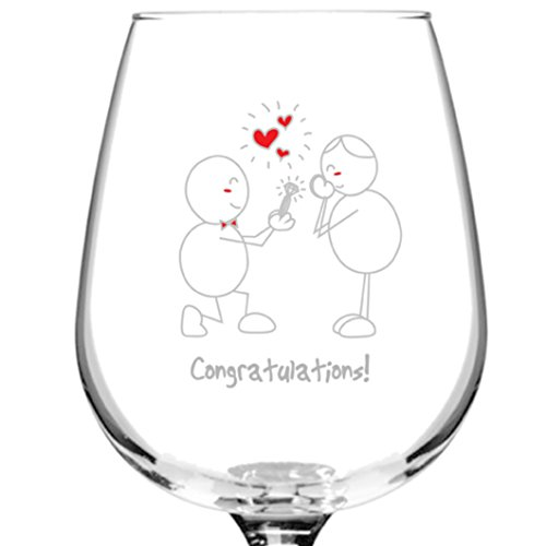 Congratulations! Engagement Wine Glass- 12.75 oz. - Romantic Red or White Wine Glass Gift - Made in USA - Present Idea for Engagement, Couples (Engagement Gifts Wine compare prices)