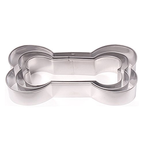 Dog Bone Metal Cookie Cutter Set, Dog's Favorite Bone Shape, Stainless Steel, 3 Piece -