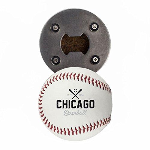 Chicago WS Bottle Opener, Made from a real Baseball, The BaseballOpener, Cap Catcher, Fridge Magnet ()