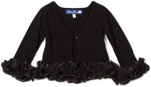 Blue Pearl Baby Girls' Ruffle Sweater Cardigan with Flower Trim