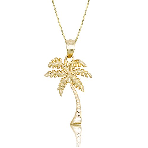 - Honolulu Jewelry Company 14k Yellow Gold Palm Tree Necklace Pendant with 18