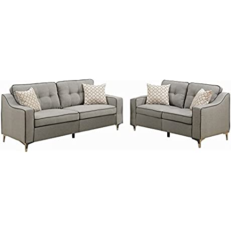 Poundex F6892 Bobkona Masaccio Sofa And Loveseat Light Grey