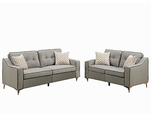 Poundex F6892 Bobkona Masaccio Sofa & Loveseat, Light Grey