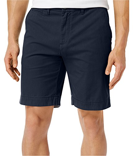 Tommy Hilfiger Mens Pleated Flat Front Khaki, Chino Shorts Navy 40