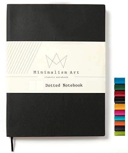 Minimalism Art, Soft Cover Notebook Journal, A5 Size 5.8 X 8.3 inches, Black, Dotted Grid Page, 176 Pages, Fine PU Leather, Premium Thick Paper-100gsm, Ribbon Bookmark, Designed in San Francisco