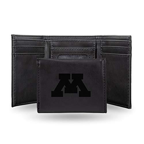 Rico Industries NCAA Minnesota Golden Gophers Laser Engraved Tri-Fold Wallet, Black