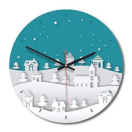 Mimagogo Imprimir redondo de acrÃlico del reloj de pared silencioso arte no tictac Pintura APC010