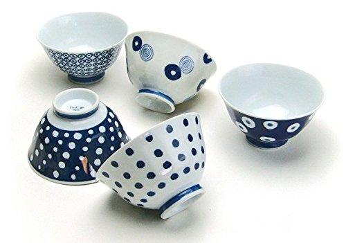 Saikai Pottery Traditional Japanese patterns blue and white, Japanese rice bowl set of 5 13303 from Japan