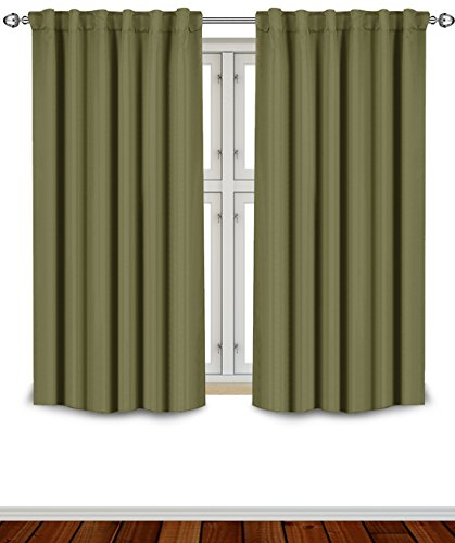 Blackout Room Darkening Curtains Window Panel Drapes - Olive Color 2 Panel (Color Blackout Curtain)