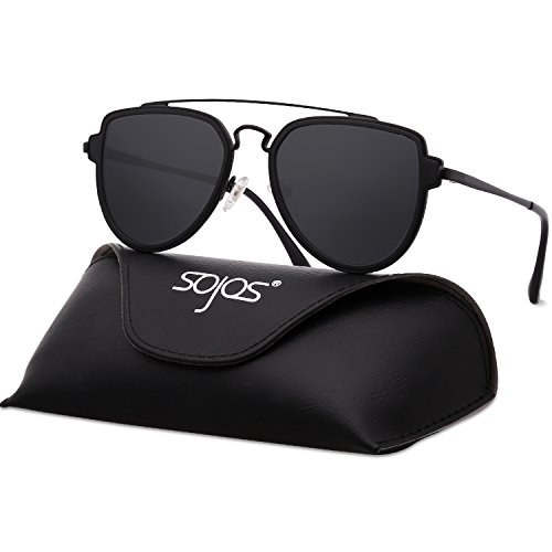SojoS Fashion Aviator Unisex Sunglasses Flat Mirrored Lens Double Bridge SJ1051 Black Frame/Grey Polarized Lens with - Flat Sunglasses Mens