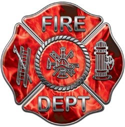 Fire Dept Maltese Cross Red Inferno Flames - 3