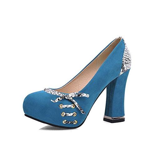 Balamasa Dames Instapper Hoge Hakken Assorti Kleur Microfiber Pumps-schoenen Blauw