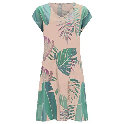 FAPIZI Women Summer Retro Solid Loose Bohemian Linen Ethnic Shirtdress Casual V-Neck Pockets Ladies Dress Pink
