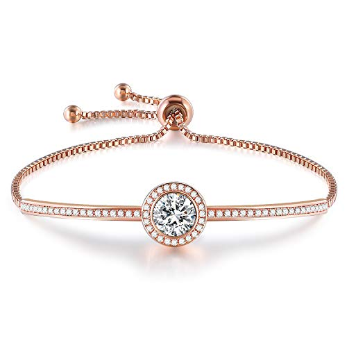 "GEORGE · SMITH Birthday Gifts""Endless Saturn"" Adjustable Women Rose Gold Bangle Bracelet Crystals from Swarovski Jewelry for Girlfriend Wife Mom -a Luxury Gift Box Included (Rose Gold Bracelet)"