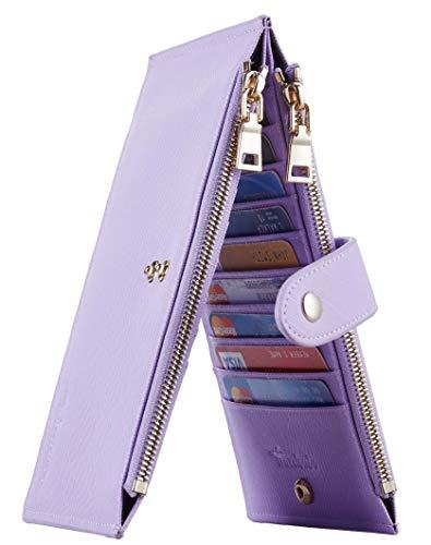Travelambo Womens Walllet RFID Blocking Bifold Multi Card Case Wallet with Zipper Pocket (CH Purple Light 5200)