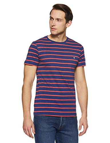 Something for Everyone Blue Men's Casual Crew Neck Single Jersey with Pink Striper Regular Fit T-Shirt Extra ()