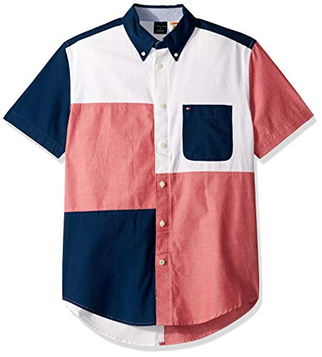 Tommy Hilfiger Men's Adaptive Magnetic Short Sleeve Button Shirt Custom Fit, Bright White, - Hilfiger Shirt Button Tommy Down