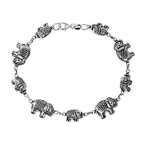 AeraVida Royal Thai Elephant 3D .925 Sterling Silver Link Bracelet