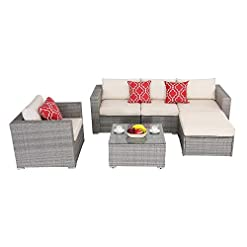 Garden and Outdoor Do4U Patio Furniture Set 6-Piece Outdoor Lawn Backyard Poolside All Weather PE Wicker Rattan Steel Frame Sectional… patio furniture sets