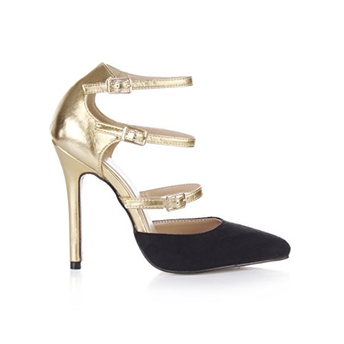 Escarpins Strappy Stiletto Féminines Strass Prime Or Brillant + Noir Mat