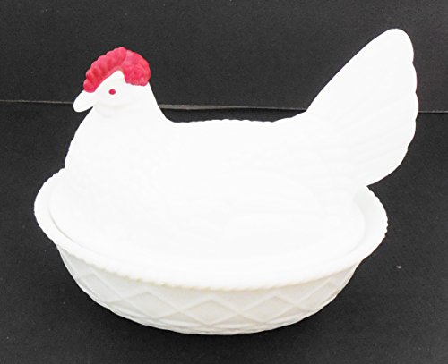 Vintage Indiana White Glass Hen In Basket With Red Head 7