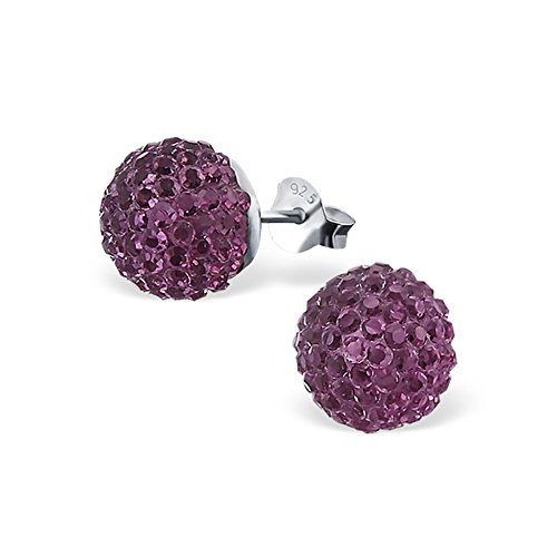 Price comparison product image 925 Sterling Silver Girls Ball Colorful Ear Studs