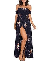 OMZIN Women's Dress Summer Beach Dress Off Shoulder Floral Maxi Print Boho Dress