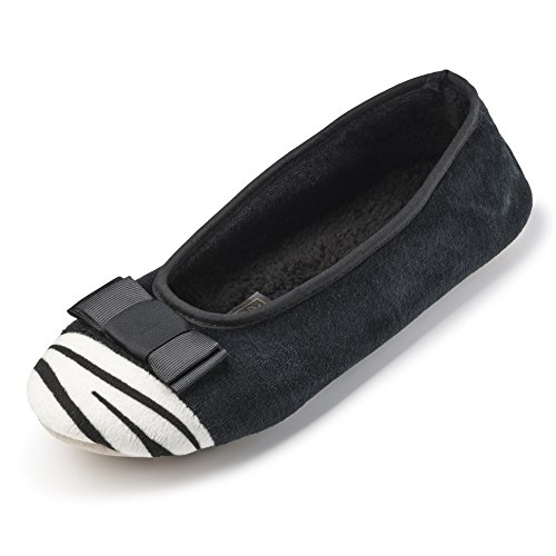 Terry Slippers Most Comfortable zebra Animal Ballerina W Print Lining Black Women Indoor cotton House Shoes wI0TFgaqx