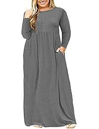 Women Short Sleeve Loose Plain Casual Plus Size Long Maxi...